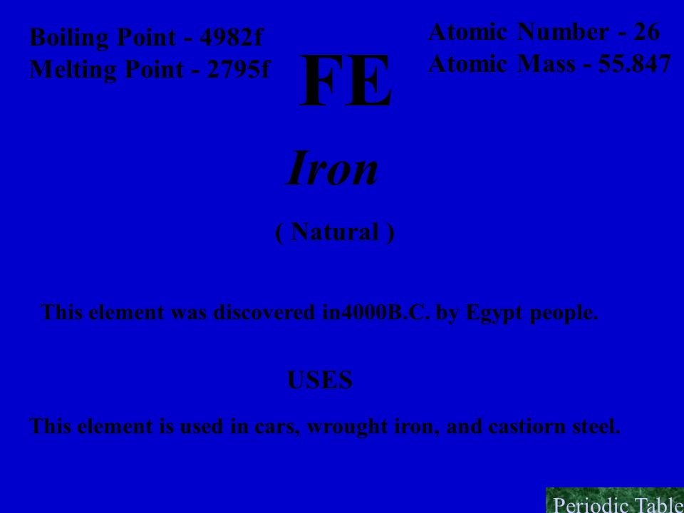 FE Iron Atomic Number - 26 Boiling Point - 4982f Atomic Mass - 55.847