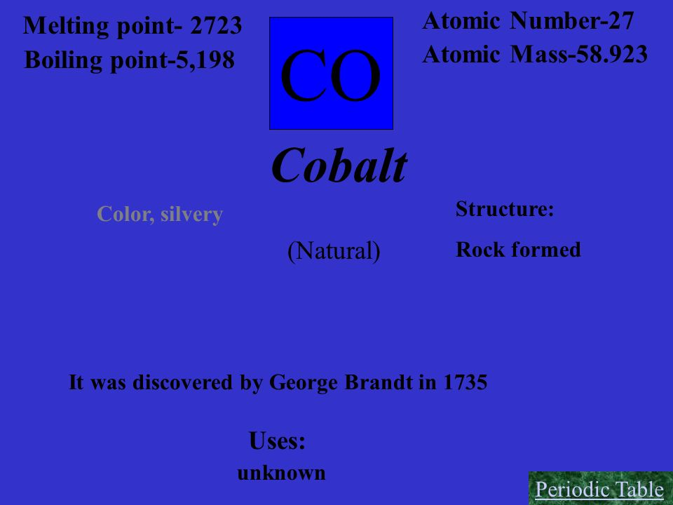 CO Cobalt Atomic Number-27 Melting point- 2723 Atomic Mass-58.923