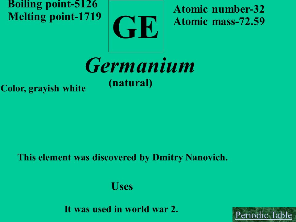 GE Germanium Boiling point-5126 Atomic number-32 Melting point-1719