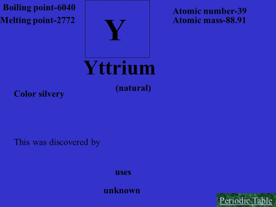 Y Yttrium Boiling point-6040 Atomic number-39 Melting point-2772