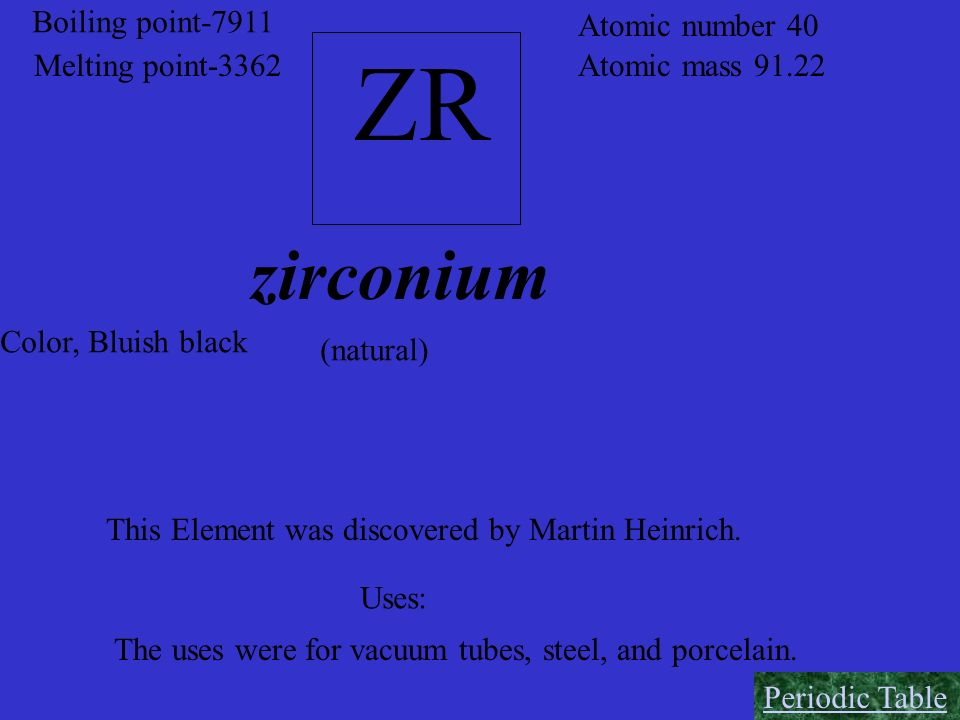 ZR zirconium Boiling point-7911 Atomic number 40 Melting point-3362