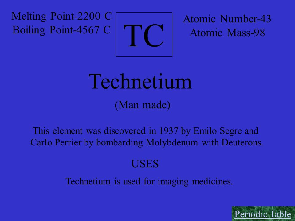 TC Technetium Melting Point-2200 C Atomic Number-43