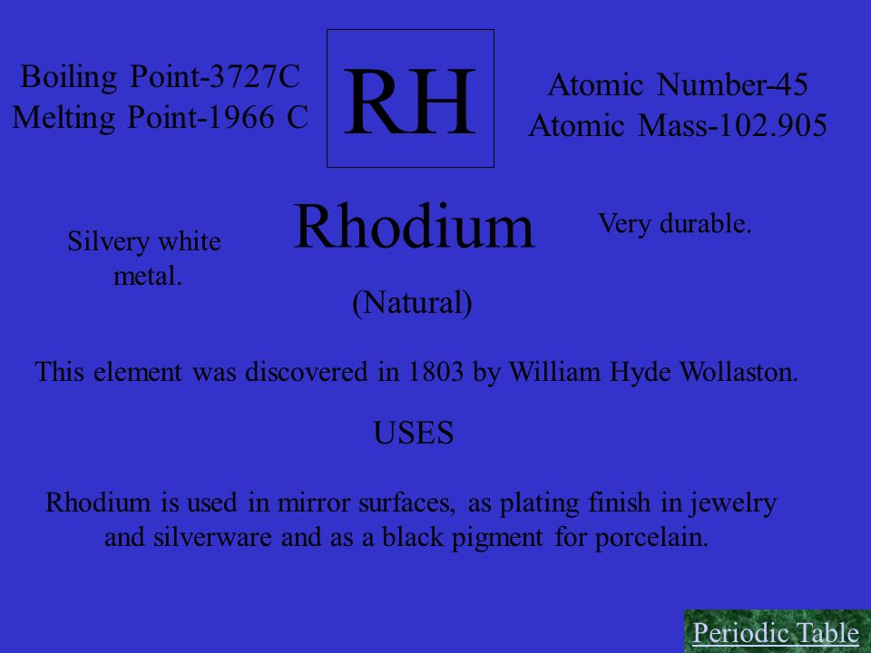 RH Rhodium Boiling Point-3727C Atomic Number-45 Melting Point-1966 C
