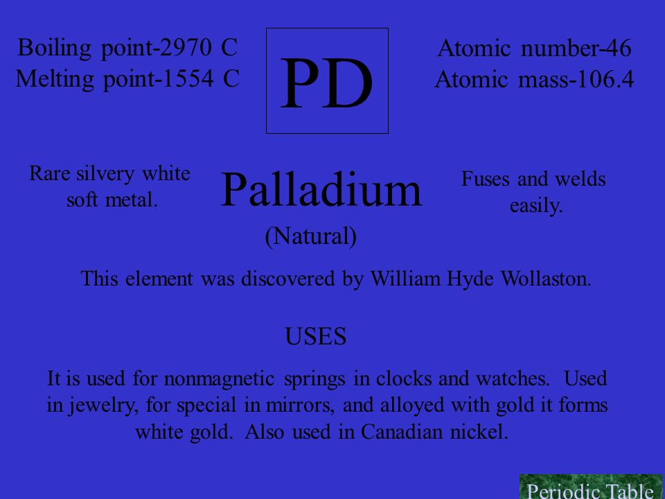 PD Palladium Boiling point-2970 C Atomic number-46
