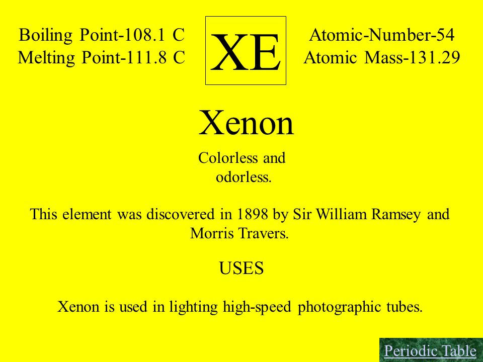 XE Xenon Boiling Point C Melting Point C Atomic-Number-54