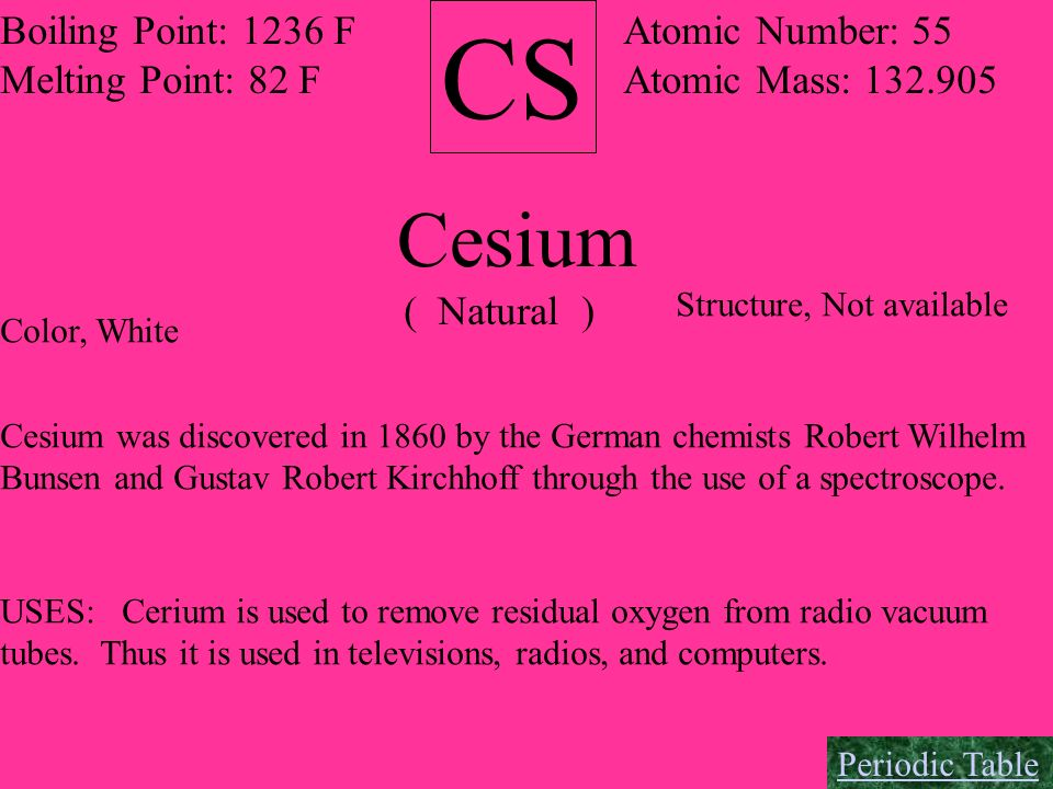CS Cesium Boiling Point: 1236 F Melting Point: 82 F Atomic Number: 55