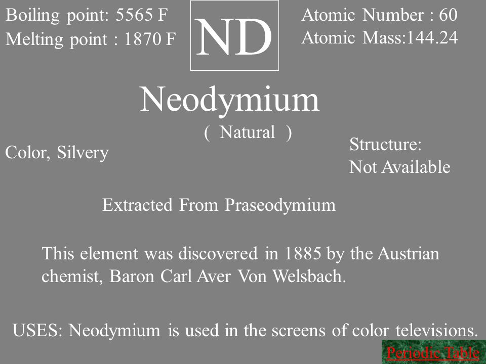 ND Neodymium Boiling point: 5565 F Atomic Number : 60