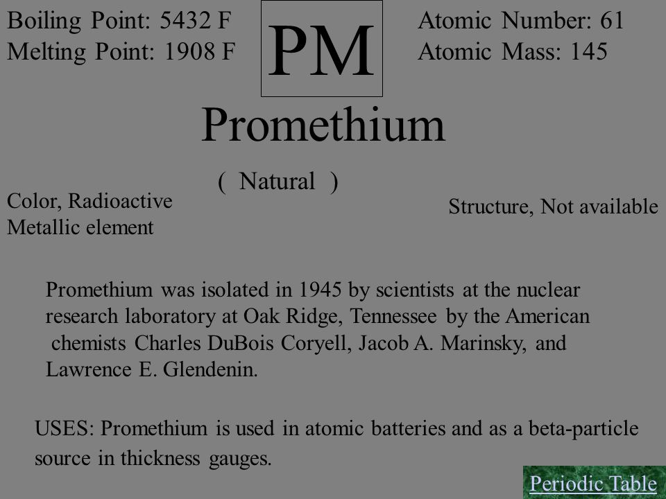 PM Promethium Boiling Point: 5432 F Melting Point: 1908 F