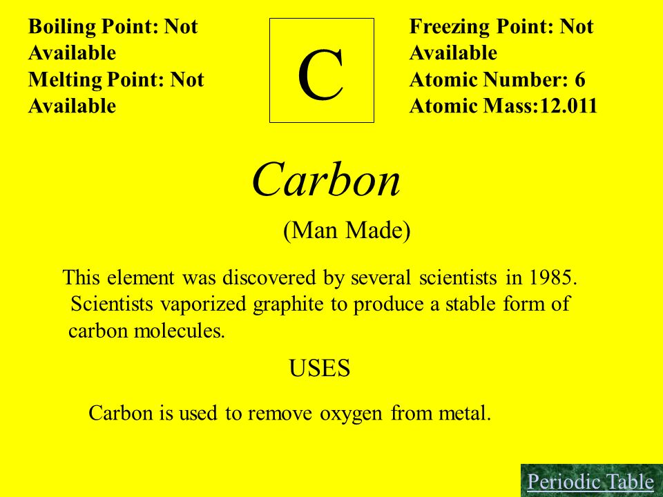 C Carbon (Man Made) USES Boiling Point: Not Available