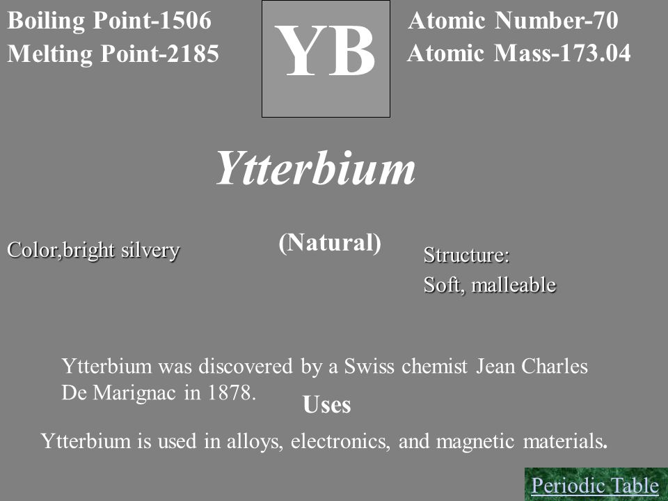 YB Ytterbium B Boiling Point-1506 Atomic Number-70 Melting Point-2185
