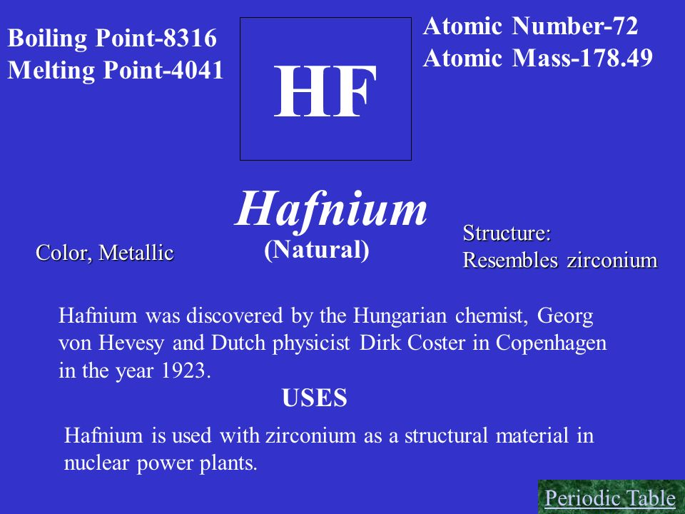 HF Hafnium Atomic Number-72 Boiling Point-8316 Atomic Mass-178.49