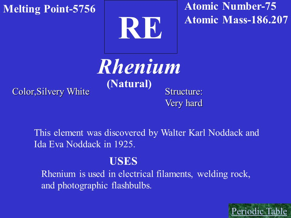 RE Rhenium Atomic Number-75 Melting Point-5756 Atomic Mass-186.207
