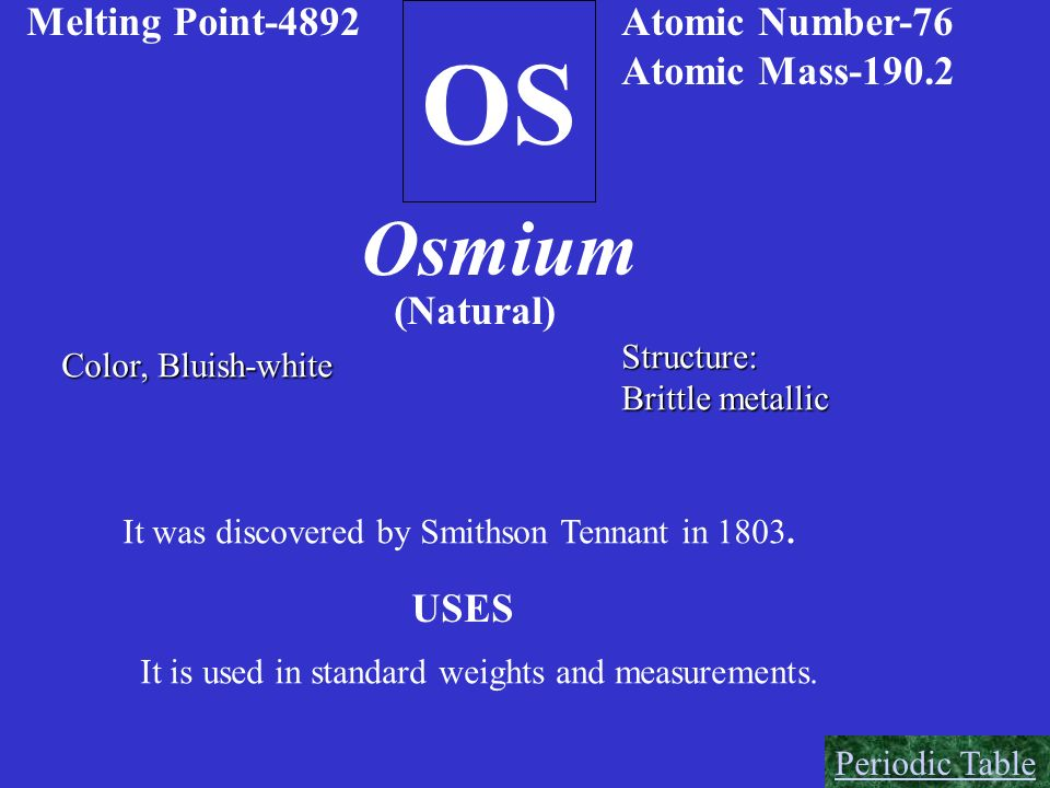 OS Osmium Melting Point-4892 Atomic Number-76 Atomic Mass-190.2