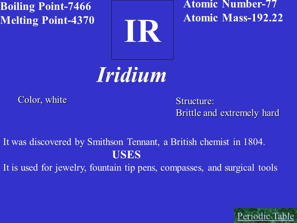IR Iridium Atomic Number-77 Boiling Point-7466 Atomic Mass-192.22