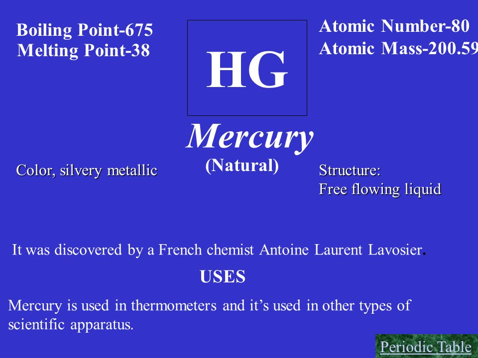 HG Mercury Atomic Number-80 Boiling Point-675 Atomic Mass-200.59
