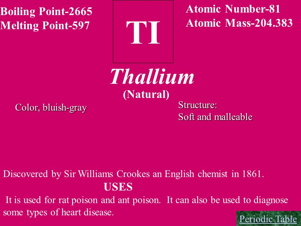 TI Thallium Atomic Number-81 Boiling Point-2665 Atomic Mass-204.383