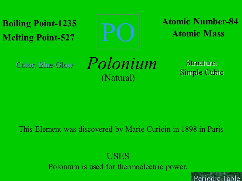 PO Polonium Atomic Number-84 Boiling Point-1235 Atomic Mass