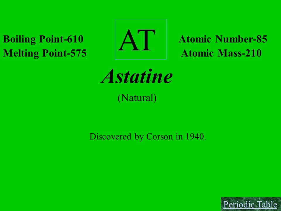 AT Astatine Boiling Point-610 Atomic Number-85 Melting Point-575