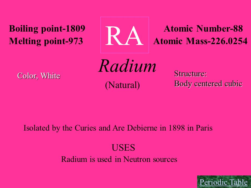 RA Radium Boiling point-1809 Atomic Number-88 Melting point-973