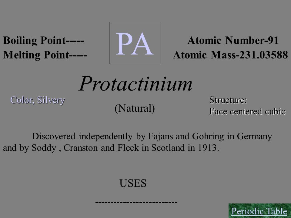 PA Protactinium Boiling Point----- Atomic Number-91 Melting Point-----