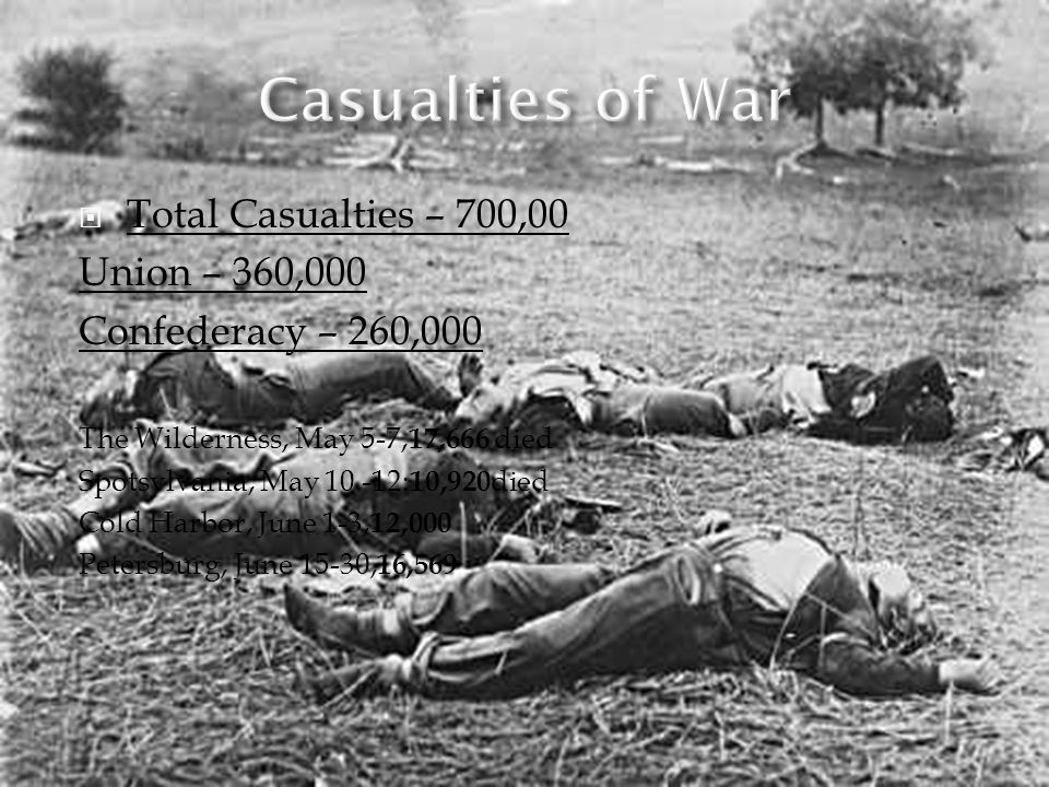 Casualties of War Total Casualties – 700,00 Union – 360,000