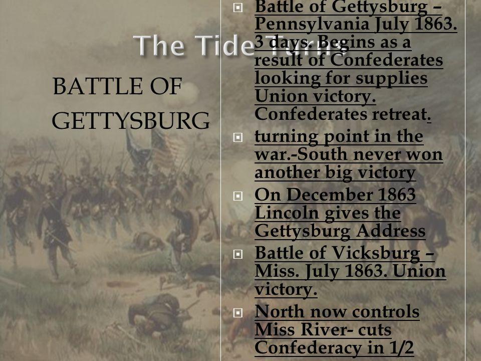 The Tide Turns BATTLE OF GETTYSBURG