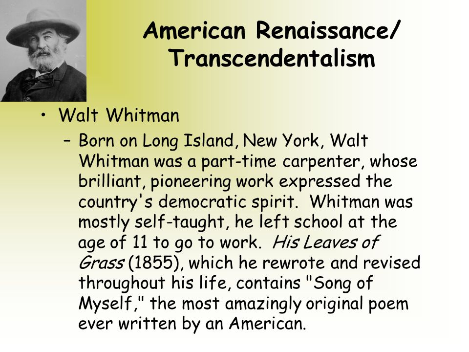 song of myself transcendentalism I also think that whitman throws in a common underlying theme of  transcendentalism throughout his poem at various times throughout song of  myself, he really.