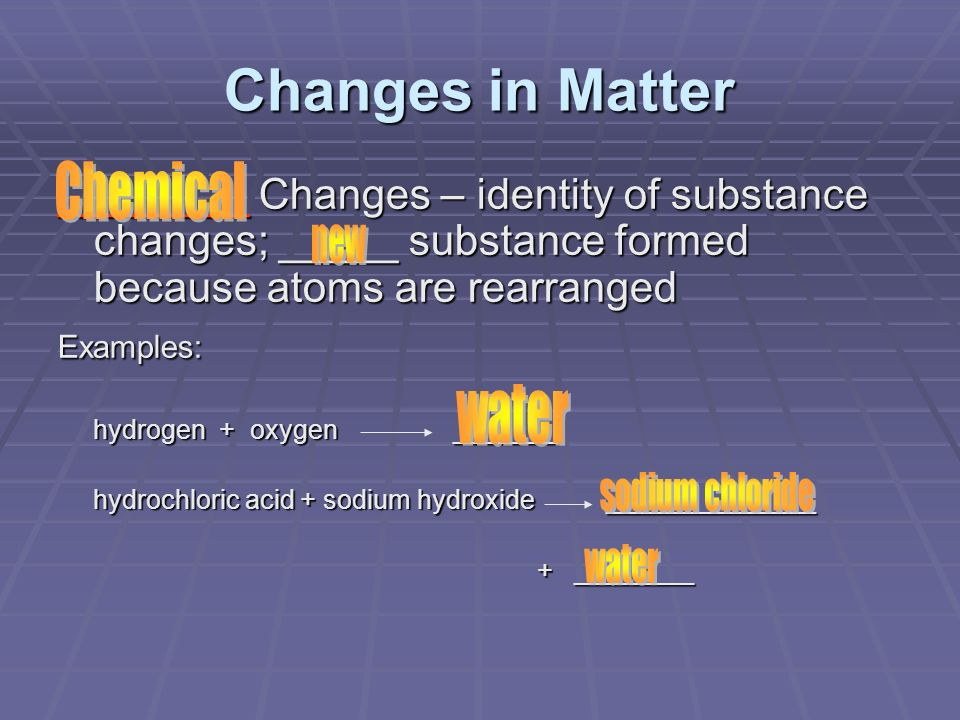 Changes in Matter Chemical water