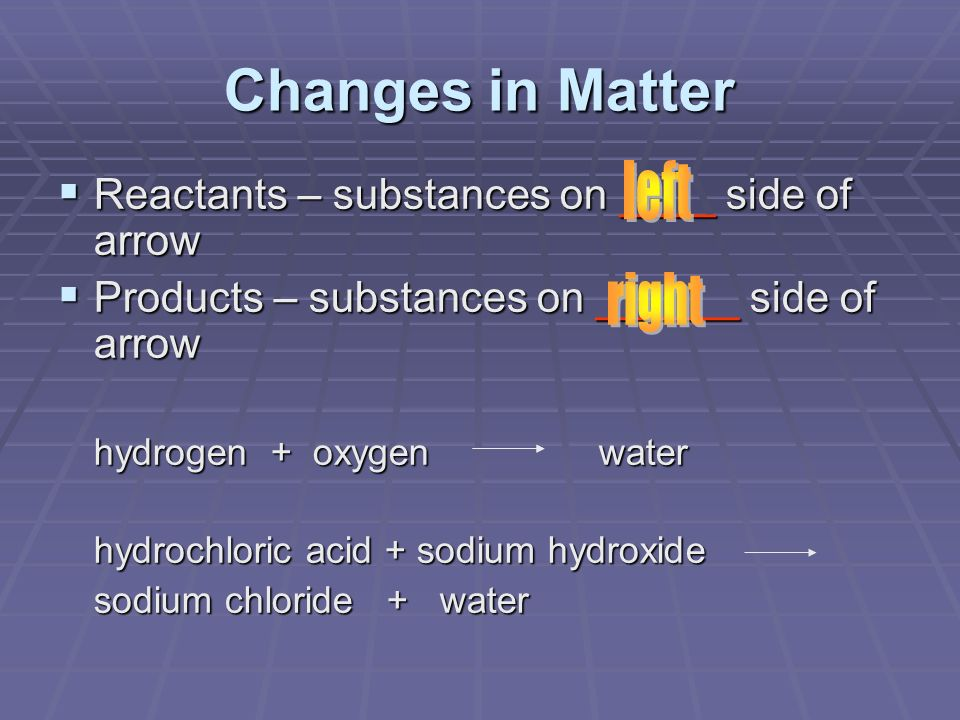 Changes in Matter left right
