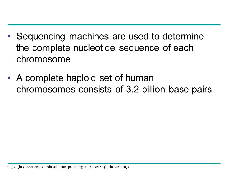 Sequencing machines are used to determine the complete nucleotide sequence of each chromosome