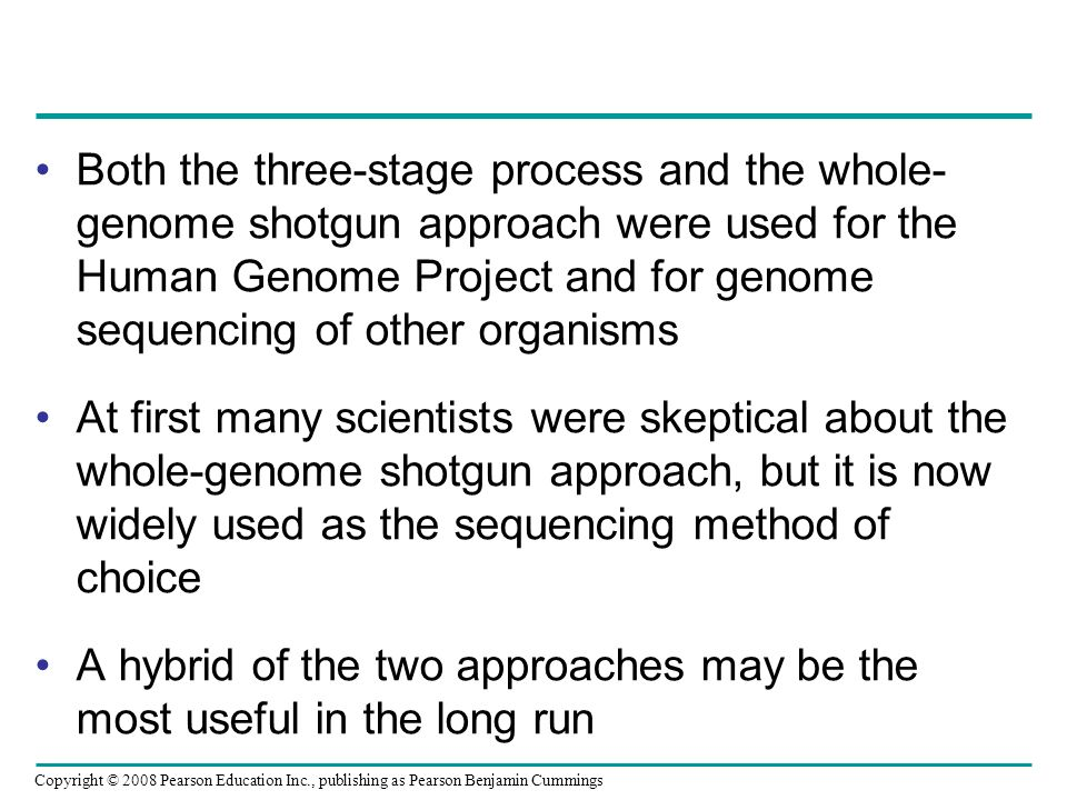 Both the three-stage process and the whole-genome shotgun approach were used for the Human Genome Project and for genome sequencing of other organisms