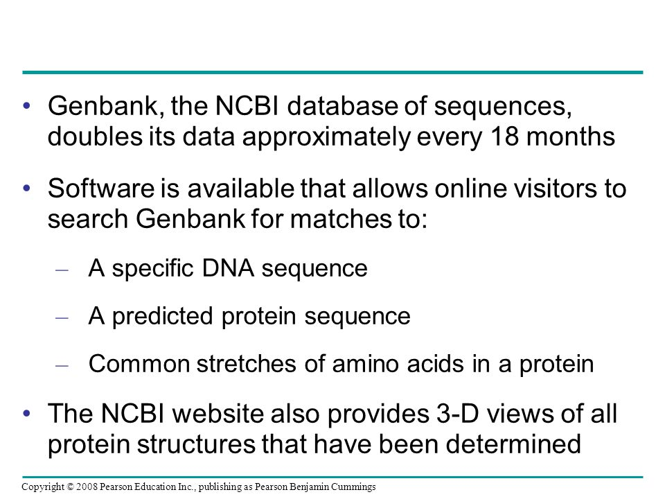 Genbank, the NCBI database of sequences, doubles its data approximately every 18 months