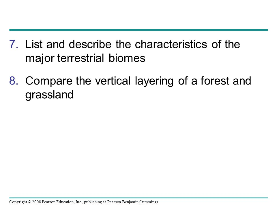 List and describe the characteristics of the major terrestrial biomes