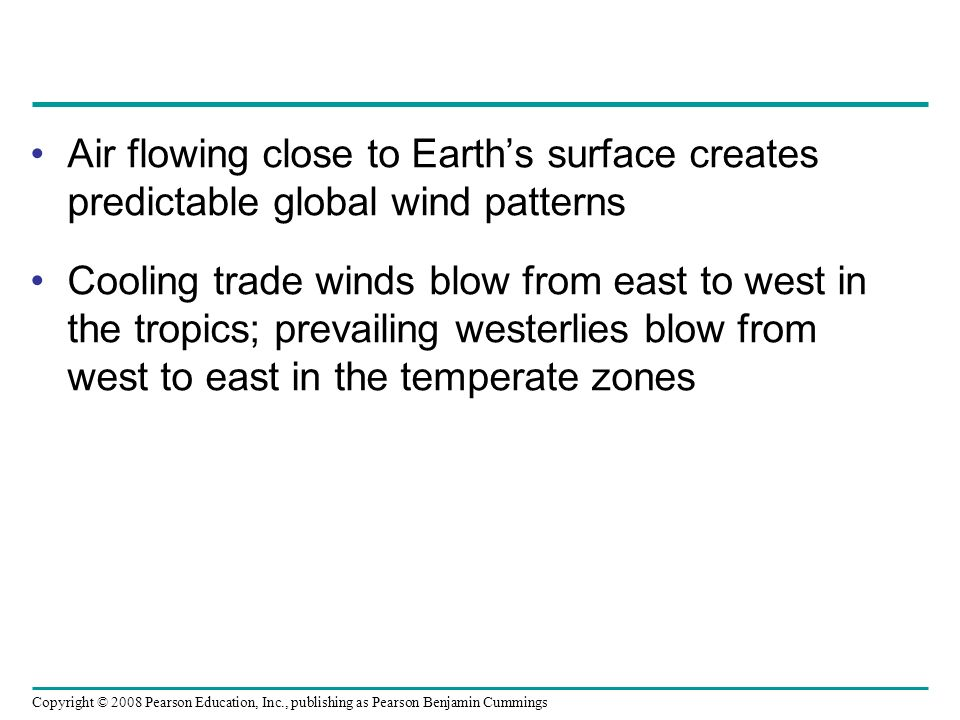 Air flowing close to Earth's surface creates predictable global wind patterns
