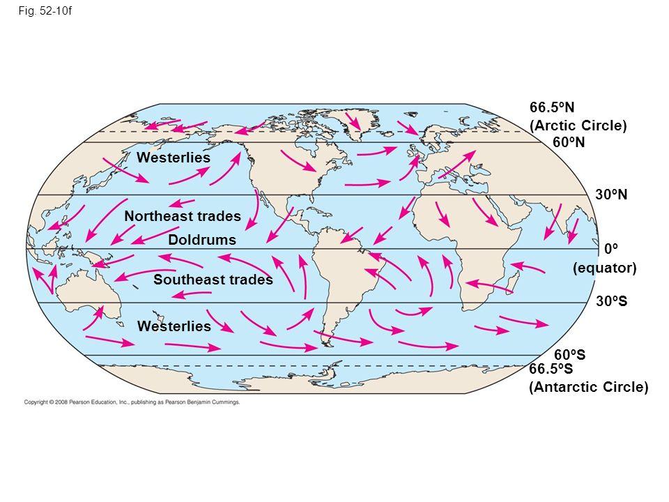 66.5ºN (Arctic Circle) 60ºN Westerlies 30ºN Northeast trades Doldrums