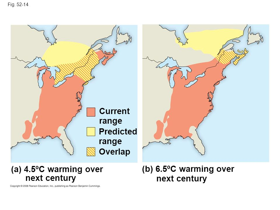 Current range Predicted range Overlap (a) 4.5ºC warming over