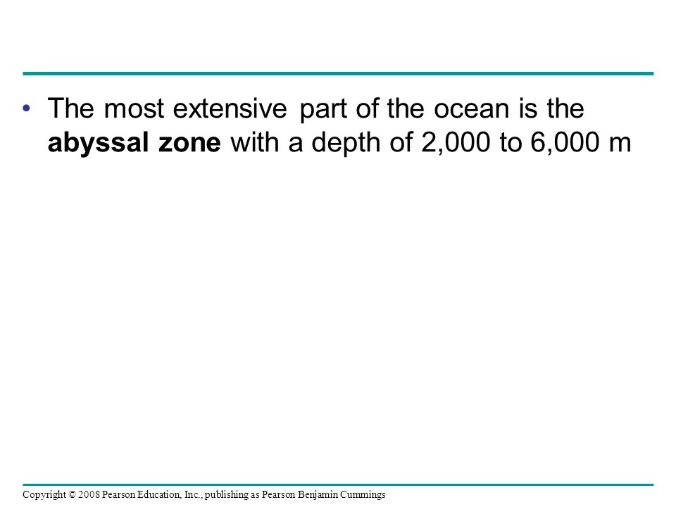 The most extensive part of the ocean is the abyssal zone with a depth of 2,000 to 6,000 m