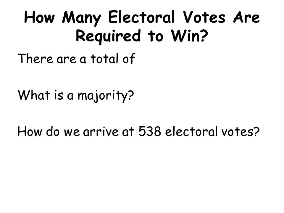 How Many Electoral Votes Are Required to Win