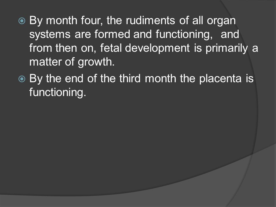 By month four, the rudiments of all organ systems are formed and functioning, and from then on, fetal development is primarily a matter of growth.
