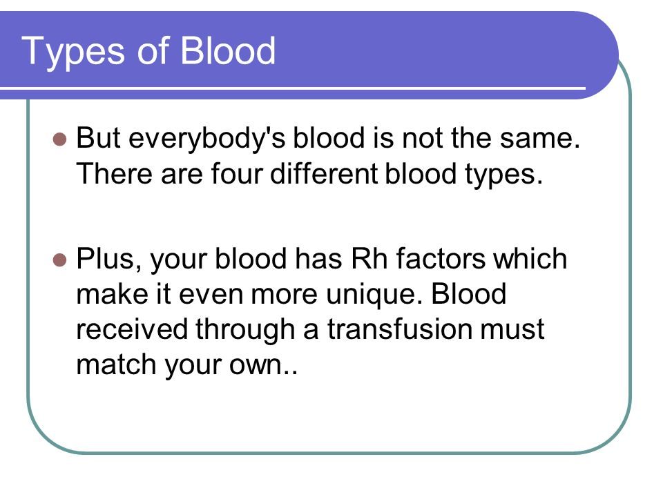 Types of Blood But everybody s blood is not the same. There are four different blood types.