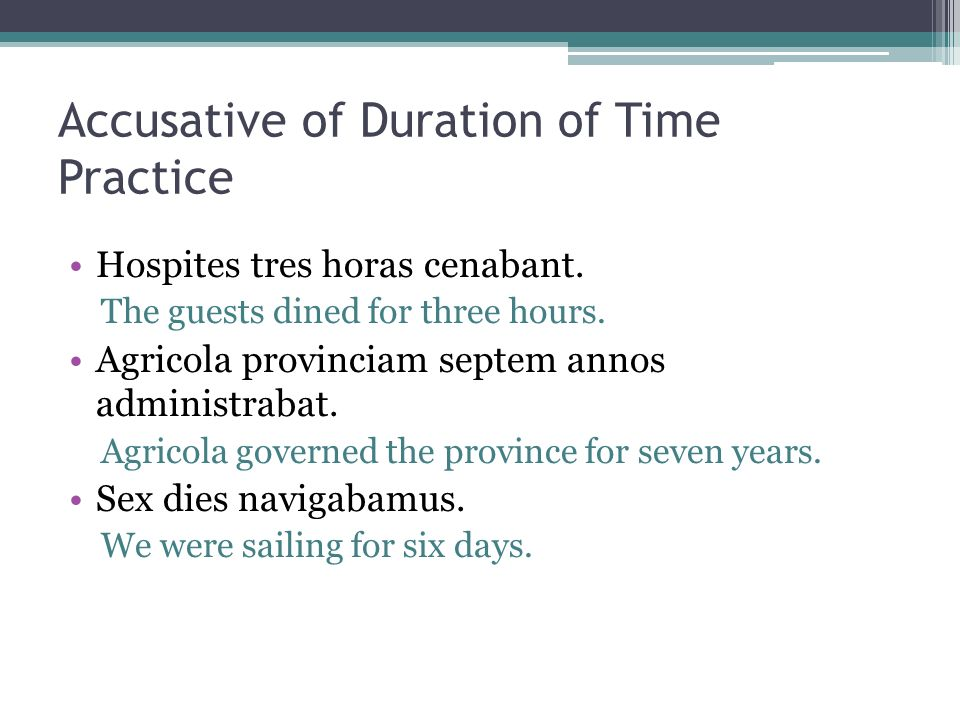 Accusative of Duration of Time Practice