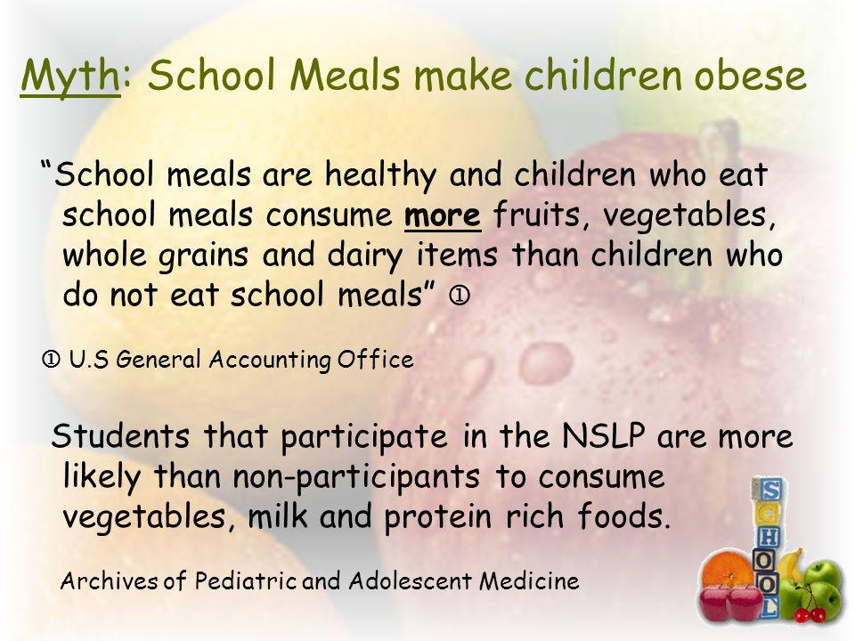 Myth: School Meals make children obese