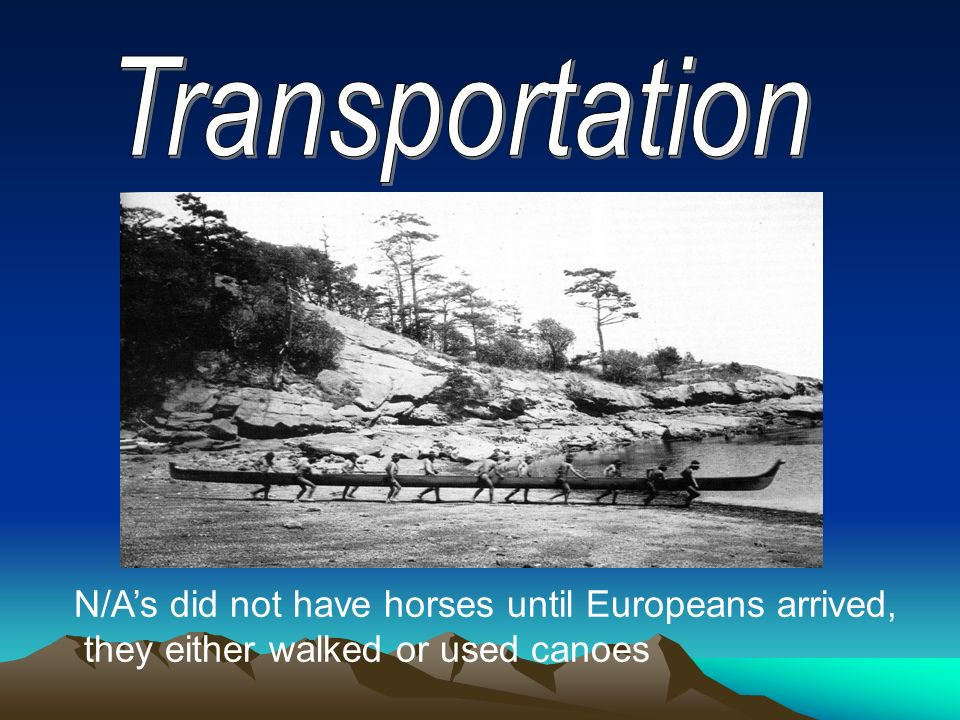 Transportation N/A's did not have horses until Europeans arrived,