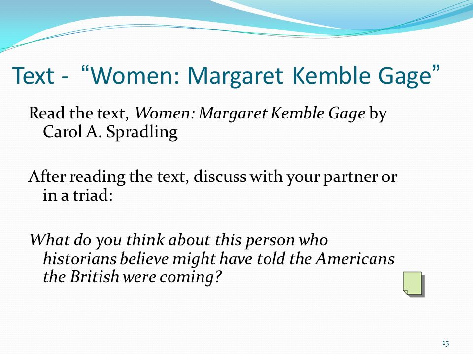 Text - Women: Margaret Kemble Gage