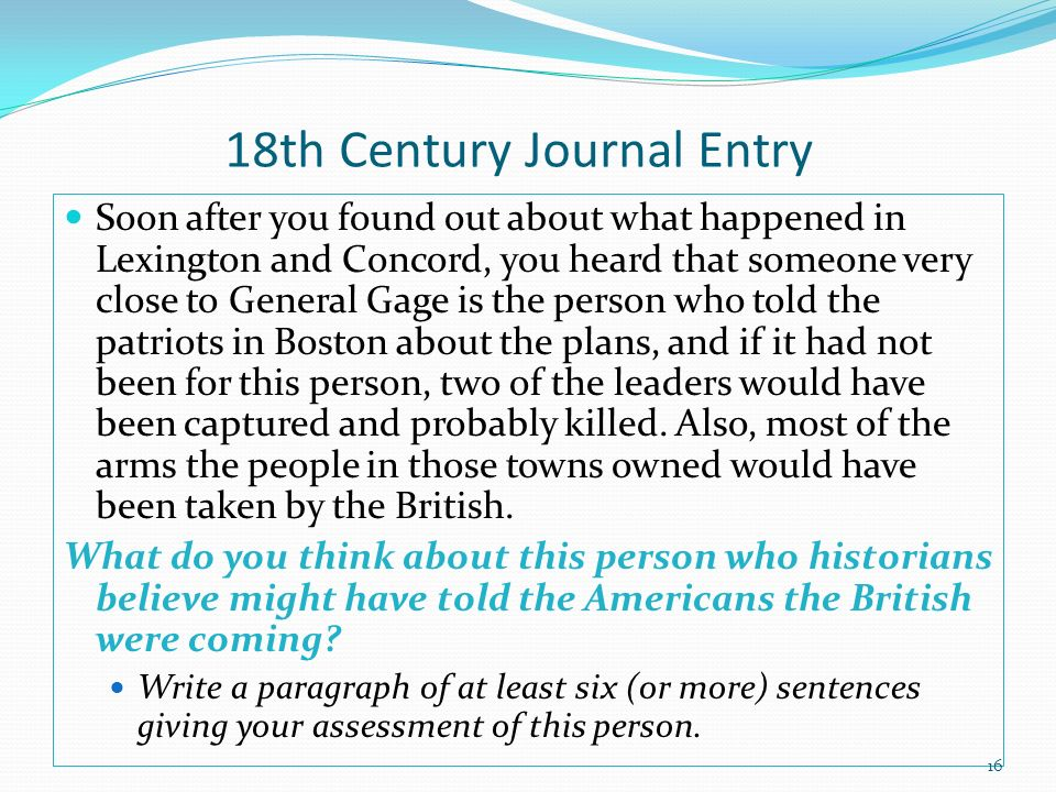 18th Century Journal Entry