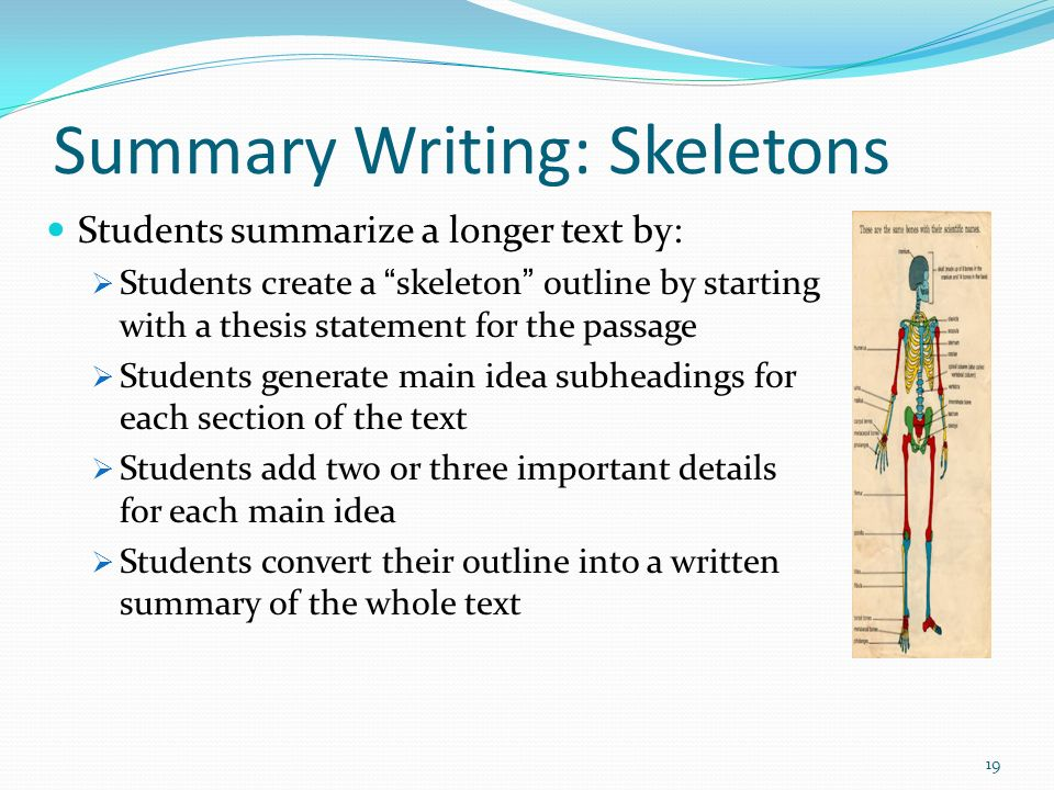 Summary Writing: Skeletons