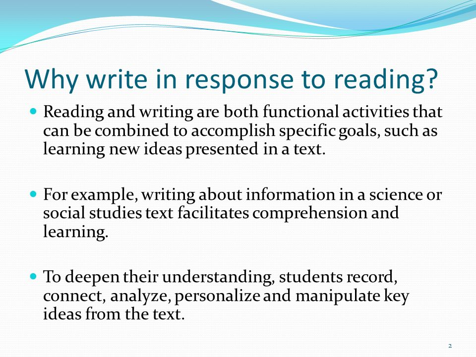 Why write in response to reading