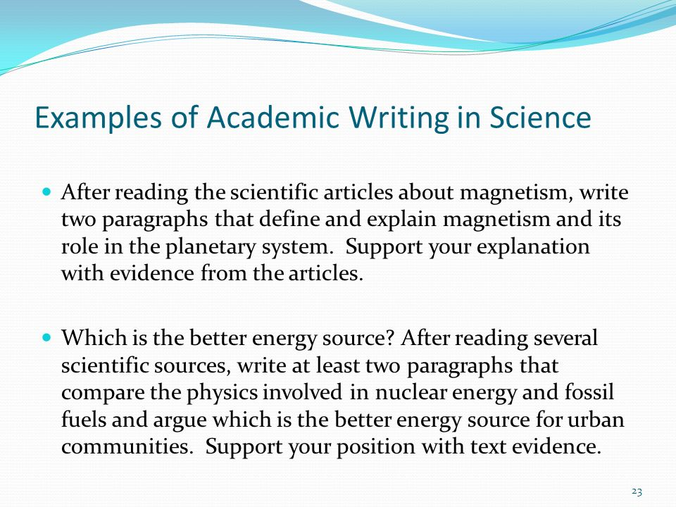 Examples of Academic Writing in Science