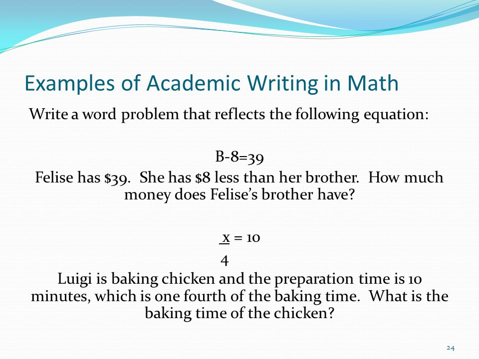 Examples of Academic Writing in Math