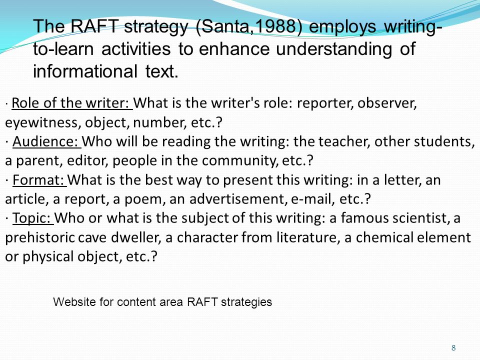The RAFT strategy (Santa,1988) employs writing-to-learn activities to enhance understanding of informational text.